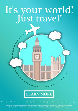 Vector Banner with text Its your world.Just travel. Concept website template.Modern flat design.Big Ben Tower and Westminster Palace. London