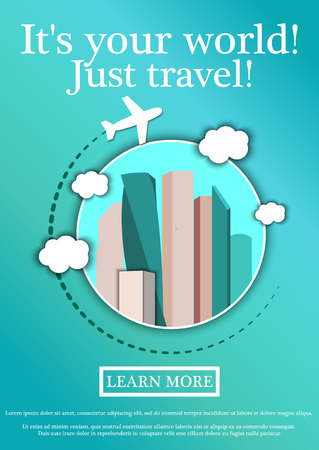 fly around: Vector Banner with text Its your world.Just travel. Concept website template.Modern flat design.Moscow City Business Center, Moscow