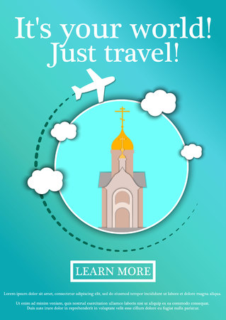 Vector Banner with text Its your world.Just travel. Concept website template.Modern flat design.Chapel in the name of St. Nicholas the Wonderworker, Novosibirsk Illustration