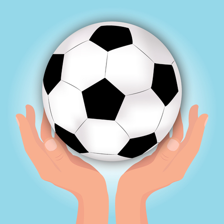 Vector Football Soccer Ball in Hands.Illustration on Sports Subjects. Illustration
