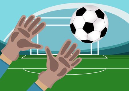 soccer field: Image of goalkeeper hands with gloves holding a soccer ball. Stadium with Football field and gates on background.Vector illustration in flat style.