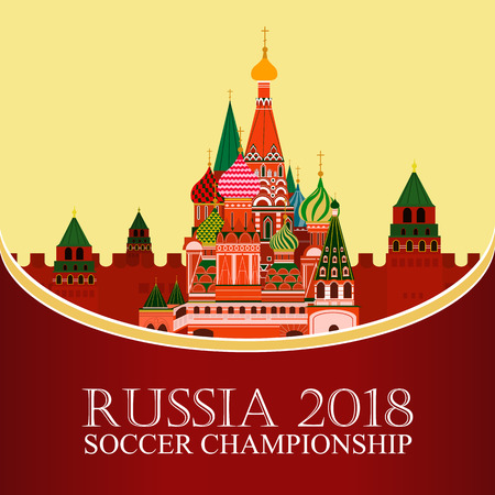 Russia 2018 World cup. Football banner. Vector flat illustration. Sport. Image of St. Basils Cathedral Illustration
