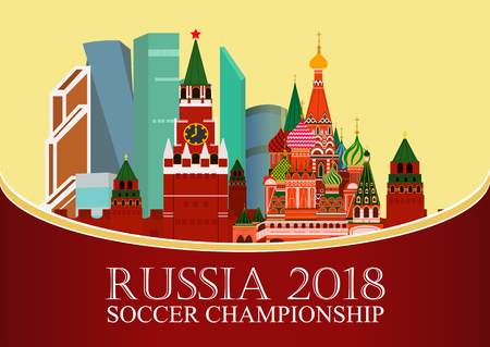 Russia 2018 World cup. Football banner. Vector flat illustration. Sport. Image of Kremlin, Business center moscow city and St. Basils Cathedral