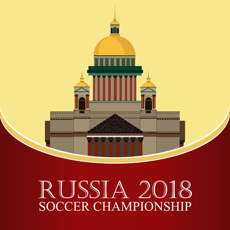 Russia 2018. Football banner. Vector flat illustration. Sport. Image of St. Isaacs Cathedral