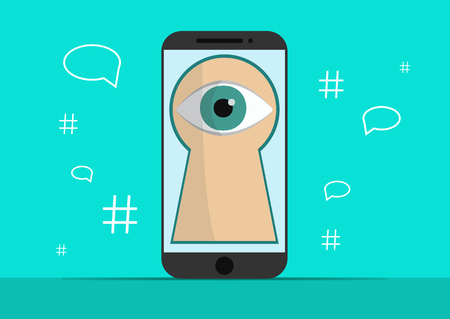 Smart phone with image of eye.Background with simple line style icons.The concept of security and protection of electronic virtual information in gadgets and social networks of the Internet.