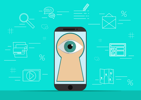 jailbreak: Smart phone with image of eye.Background with simple line style icons.The concept of security and protection of electronic virtual information in gadgets and social networks of the Internet.