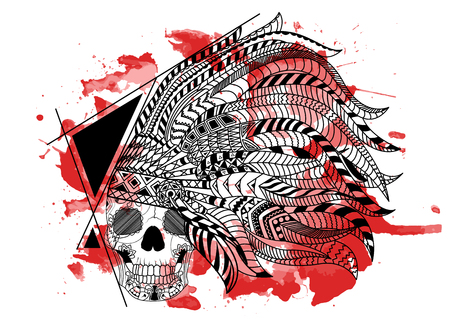 Line art hand drawing black skull of Red Indian isolated on white background with red watercolor blots. Doodle style. Tatoo. Zenart. Zentangle.Coloring for adults. Illustration