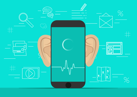 Smartphone with ears,recording audio on screen. Background with simple line icons.Concept of security and protection of electronic virtual information in gadgets and social networks of the Internet.