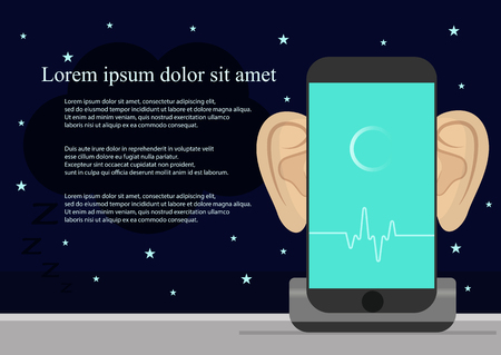 jailbreak: Smartphone with ears,recording audio on screen. Concept of security and protection of electronic virtual information in gadgets and social networks and Smart alarm clock Illustration