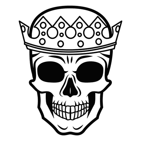 Line art hand drawing black skull with crown on had isolated on white background.
