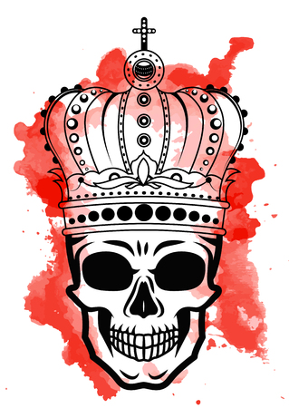 Line art hand drawing black skull with crown on had isolated on white background with red watercolor blots. Dudling style. Tatoo. Zenart. Coloring for adults. Ilustrace