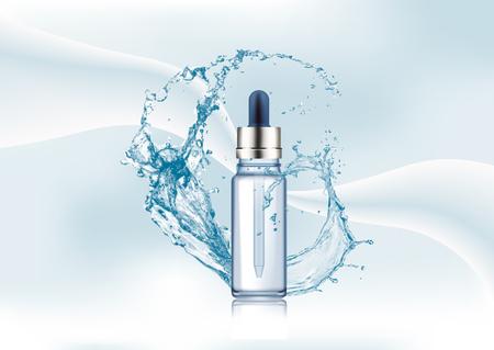 Advertentiepagina van het tijdschrift, met Splash of water, lege realistische glazen fles. Cosmetische flacon met druppelaar voor olie, vloeibare essentiële druppels, collageenserum op een abstracte stijlvolle creatieve mooie gradiëntachtergrond. Mock up vector illustratie.