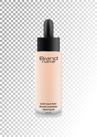Realistic transparent glass matte cosmetic bottle