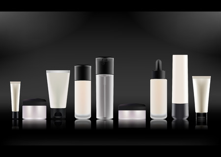 Set of realistic cosmetic bottles. Çizim