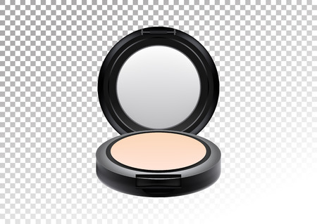 Cosmetic realistic plastic black compact mineral powder. Cosmetic beauty make up product package template,vector illustration.Realistic mockup of plastic container isolated on transparent background.