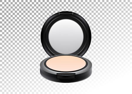 Kosmetisches realistisches schwarzes kompaktes Mineralplastikpulver. Kosmetische Schönheit bilden Produktpaketschablone, Vektorillustration Realistisches Modell des Plastikbehälters lokalisiert auf transparentem Hintergrund.
