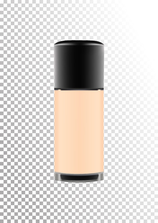 Realistic transparent glass cosmetic bottle for decorative products, foundation, lotion, cream.Black lid with dispenser. Isolated object on a transparent background.Vector illustration.