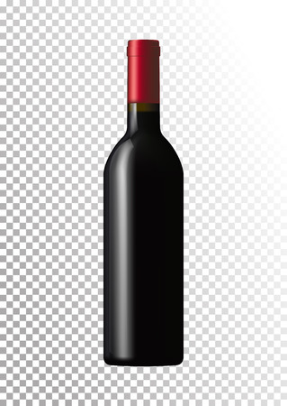 Vector illustration of a dark bottle of red wine in photorealistic style. A realistic object on a transparent background. 3D Realism.