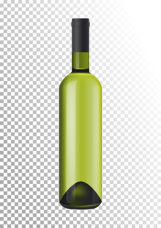 Vector illustration of a bottle of white wine in photorealistic style. A realistic object on a transparent background. 3D Realism.