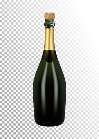 Vector illustration of a bottle of champagne or sparkling wine with a stopper and a wire in photorealistic style. A realistic object on a transparent background. 3D Realism. Illustration