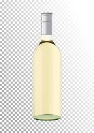 Vector illustration of a bottle of white wine with screw cap in photorealistic style. A realistic object on a transparent background. 3D Realism.