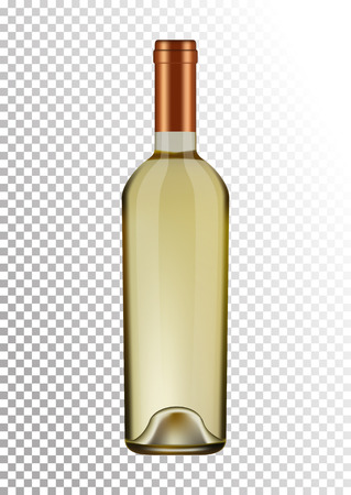 Vector illustration of a bottle of white wine in photo realistic style. A realistic object on a transparent background. Illustration