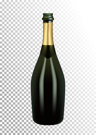 Vector illustration of opened bottle of champagne or sparkling wine in photorealistic style. A realistic object on a transparent background. 3D Realism.