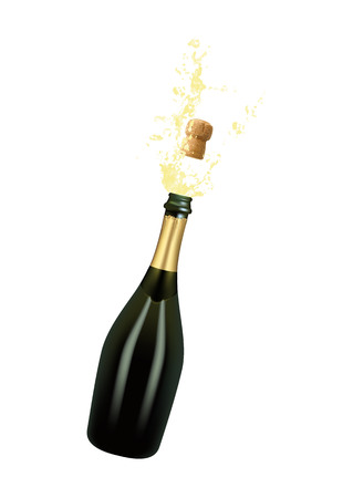 Vector illustration of opened bottle of champagne or sparkling wine with a cork and splash in photo realistic style. A realistic object on a transparent background.