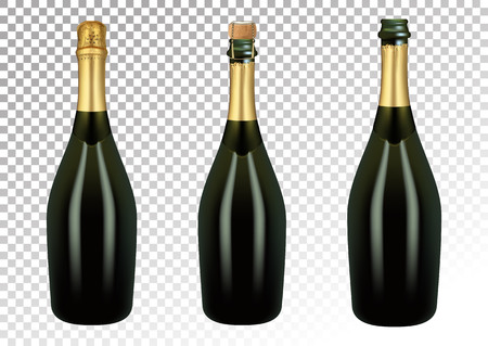 Vector illustration of set of champagne bottles or sparkling wine in photorealistic style. Open, closed, with foil. A realistic object on a transparent background. 3D realism