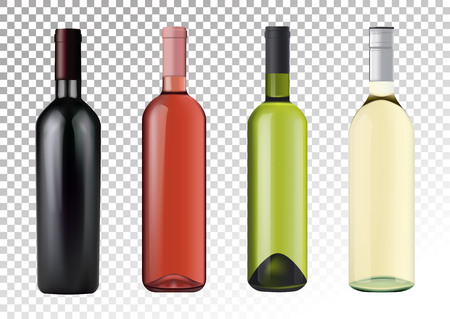Vector illustration. Set of wine bottles in photorealistic style. Pink, white, red wines. A realistic objects on a transparent background. 3D Realism.  イラスト・ベクター素材