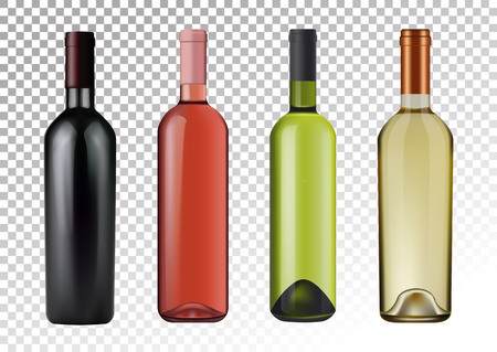 Vector illustration. Set of wine bottles in photo realistic style. Pink, white, red wines. A realistic objects on a transparent background.  イラスト・ベクター素材