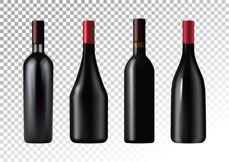Vector illustration. Set of red wine bottles in photo realistic style. A realistic objects on a transparent background.  イラスト・ベクター素材