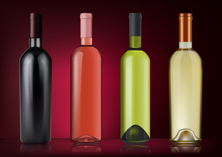 3D Realism Vector illustration. Set of wine bottles in photo-realistic style. Pink, white, red wines. A realistic objects on on dark red background.