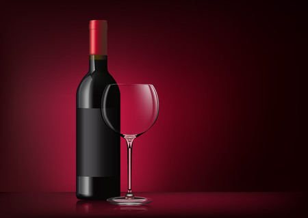 Vector image of a bottle of red wine with label and a glass goblet in photo realistic style on a red dark background. Illustration