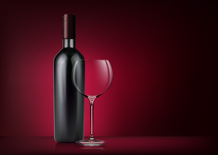 Vector image of a bottle with red wine and a glass goblet in photo realistic style on a red dark background.
