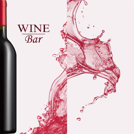 Advertising wine bar page,wine presentation brochure. Illustration of a dark bottle of red wine in photorealistic style. A realistic object on stylish background with splashes of wine and text .Vector
