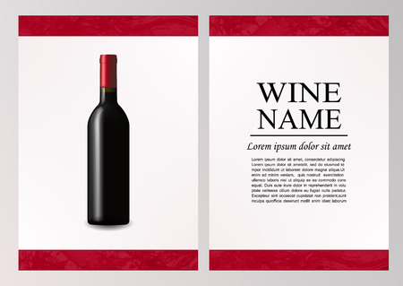 Advertising magazine page,wine presentation brochure. Illustration of a dark bottle of red wine in photorealistic style. A realistic object on stylish background with splashes of wine and text .Vector