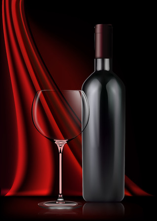 Vector image of a realistic bottle of red wine and a glass goblet in photorealistic style on a background of red dark silk fabric. 3d realism illustration