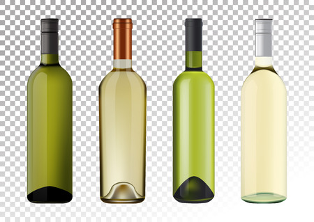 Vector illustration. Set of white wine bottles in photorealistic style. A realistic objects on a transparent background. 3D Realism. Illustration
