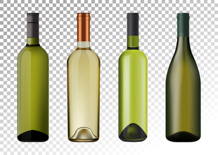 Vector illustration. Set of white wine bottles in photorealistic style. A realistic objects on a transparent background. 3D Realism.  イラスト・ベクター素材