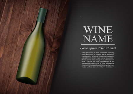 A realistic bottle of white wine with black label in photorealistic style on wooden dark board, black background like chalk board,text.