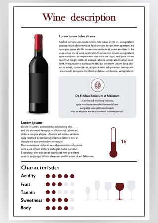 Illustration vectorielle.Brochure, formulaire décrivant les caractéristiques du vin rouge.Température d'alimentation, brève description, histoire d'origine, verre de table pour le service, critères de goût.Tanins, acidité, forteresse. Banque d'images - 99933382
