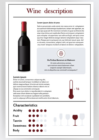 Vector illustration.Brochure,form describing the characteristics of red wine.Feed temperature,brief description,history of origin, tableware glass for serving,taste criteria.Tannins,acidity,fortress.