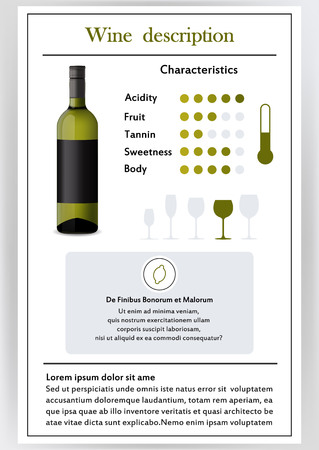 A Vector illustration of Brochure, form describing the characteristics of red wine. Vectores