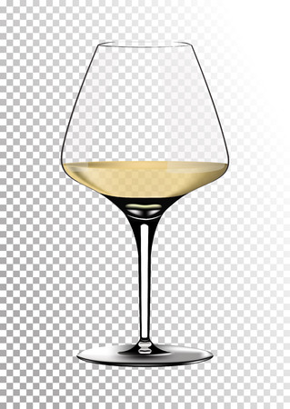 Transparent realistic vector wineglass full of white wine with bright saturated straw colored amber. Illustration in photorealistic style. Illustration