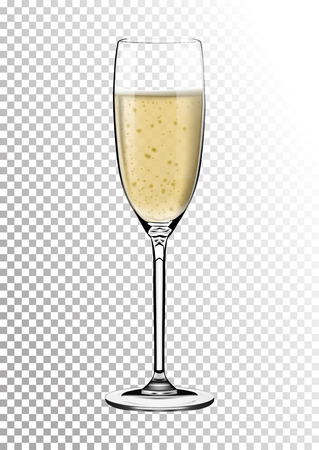 Realistic Glossy Transparent Glass full of Champagne. Bright saturated sparkling straw colored amber. Vector illustration in photorealistic style. Çizim
