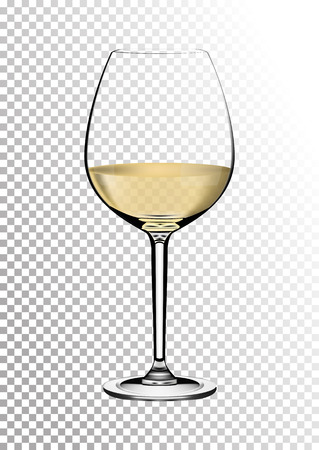 Transparent realistic vector wineglass full of white wine with bright saturated straw colored amber. Illustration in photorealistic style. Stock Photo
