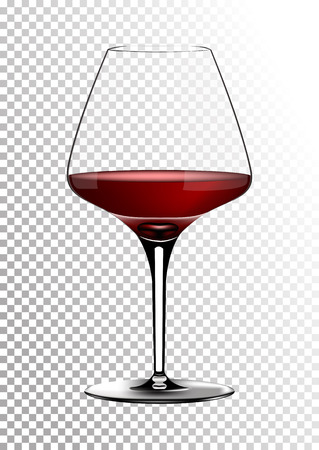 Transparent realistic vector wineglass full of red wine rich dark ruby burgundy color. Illustration in photorealistic style. Stock Illustration - 100368764