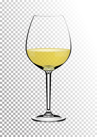 Transparent realistic vector wineglass full of white wine with bright saturated straw colored amber. Illustration in photo realistic style.