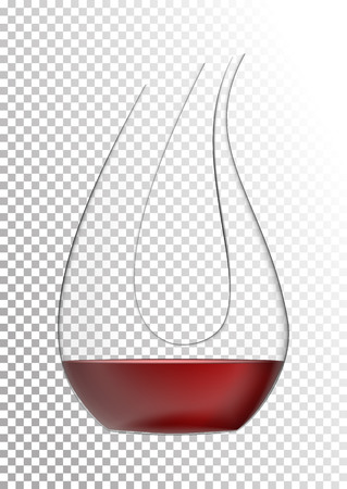 Vector illustration in photo realistic style. The image of a realistic glass transparent decanter with wine on a transparent background.Object to enrich the saturation of wine with oxygen.